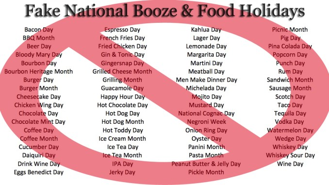 fake national booze and food holidays