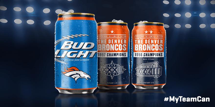 Broncos Super Bowl Cans