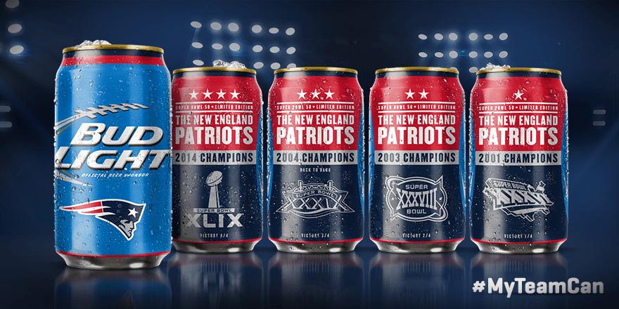 Patriots Super Bowl  Cans