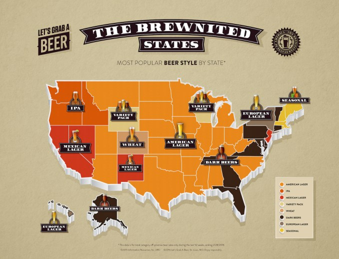 most popular beer style by state
