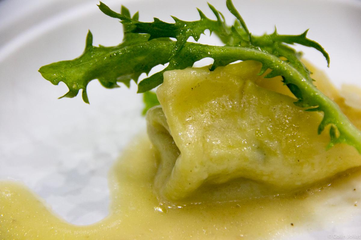 Osteria la Madia – Bacon and truffled spinach ravioli