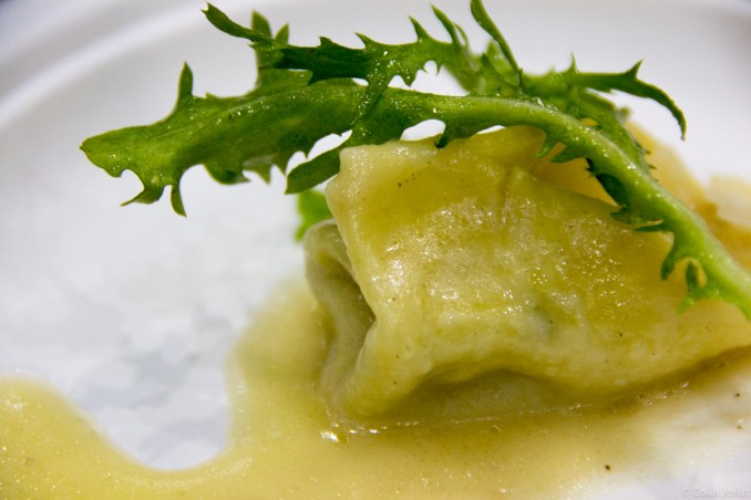 Osteria la Madia - Bacon and truffled spinach ravioli