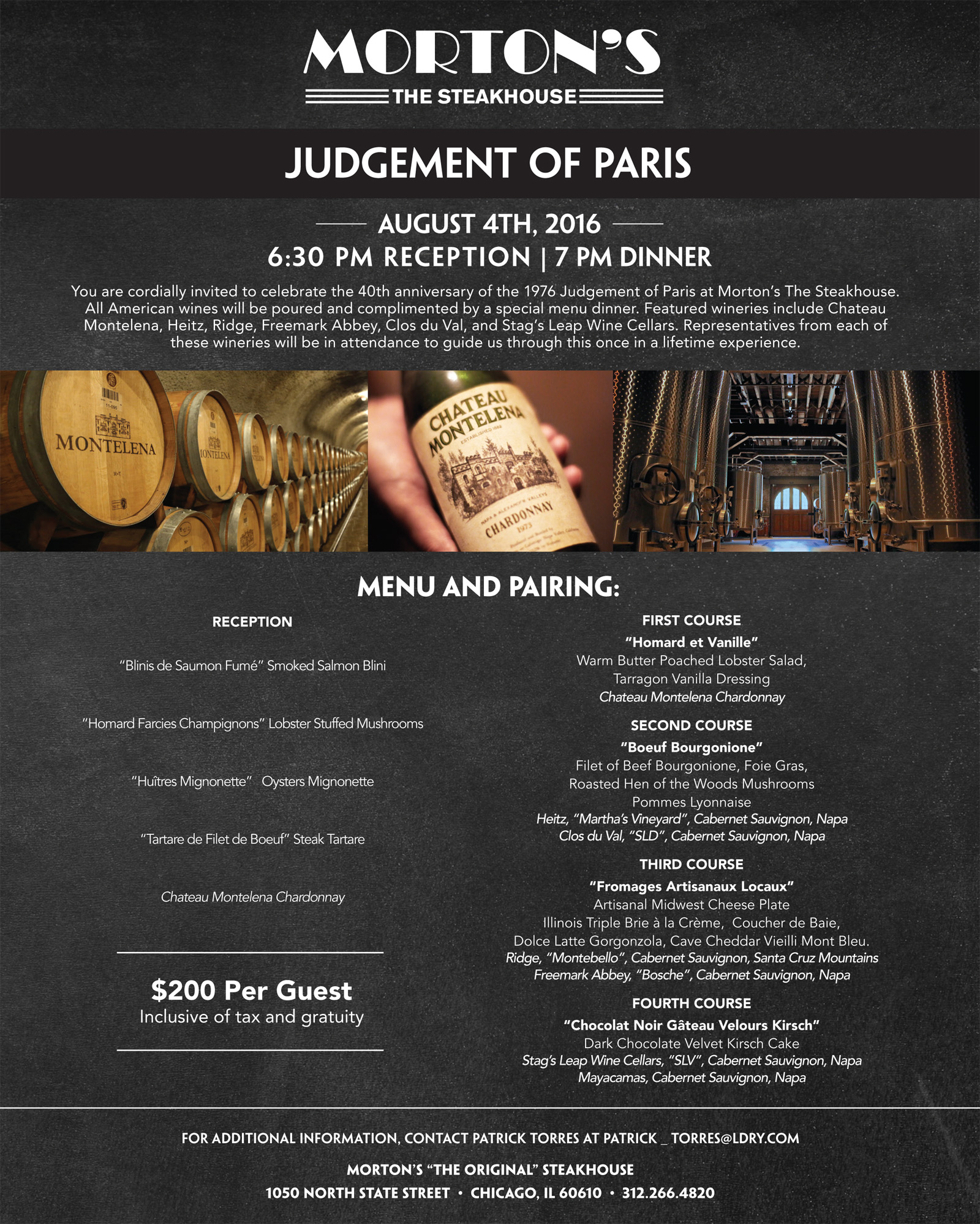 Mortons Judgment of Paris Wine Dinner