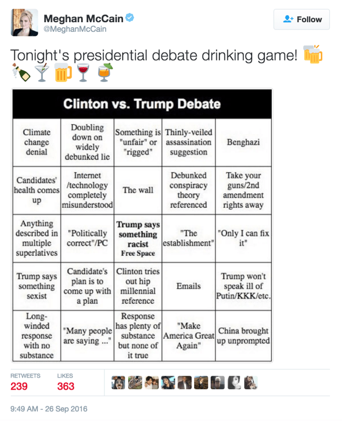 presidential election drinking game