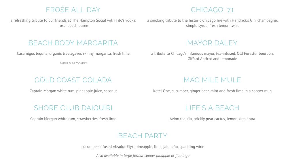 Shore Club cocktail menu