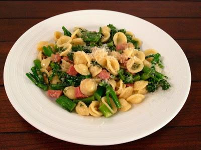 Orecchiette with Pancetta, Pine Nuts and Broccolini