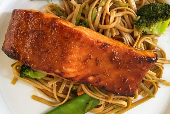 Hoisin Glazed Broiled Salmon