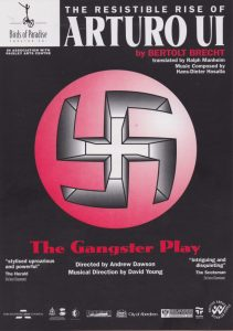 A poster for the play 'The Resistible Rise of Arturo UI'. It is plain black with a swastika insignia in the middle.