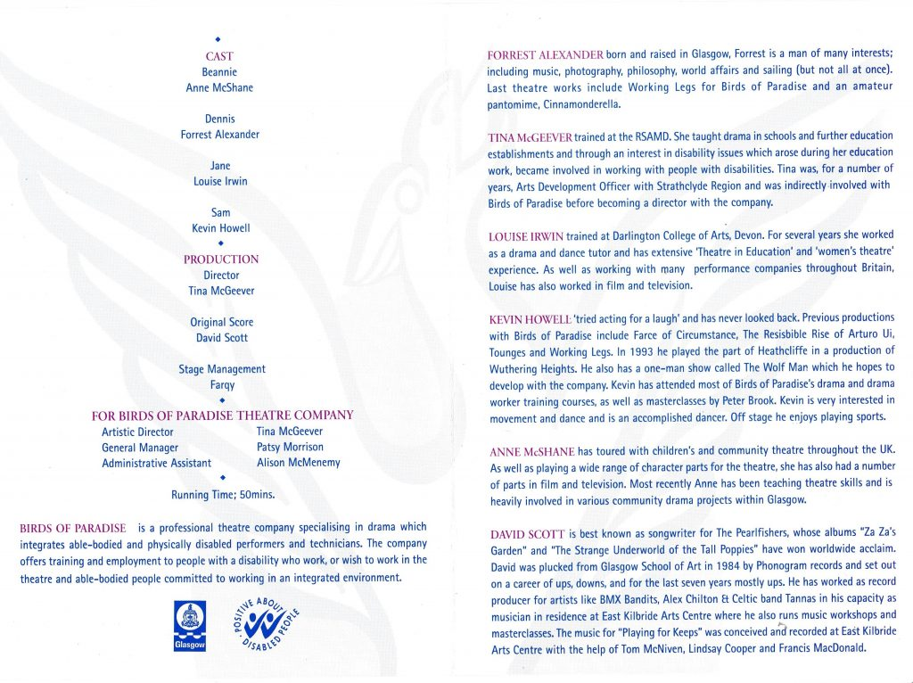 A scanned image of the productions programme.