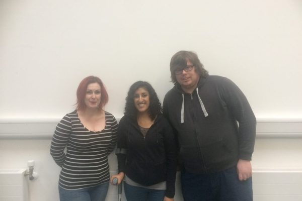 Picture of the three BOP Artists standing in a row: Jen McGregor, Aminder Virdee and Stuart Pyper