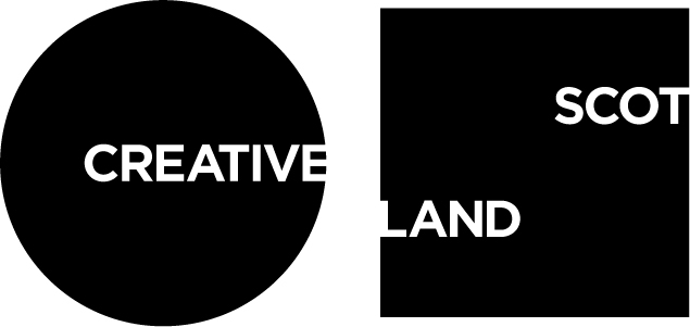 Creative Scotland logo: A black circle and square. The black circle has the word 'creative' in the centre right of the circle, making the circle look light a big C. The black square has the word Scot in the upper right, and the word Land in the lower left, breaking the square to look like a boxy S.
