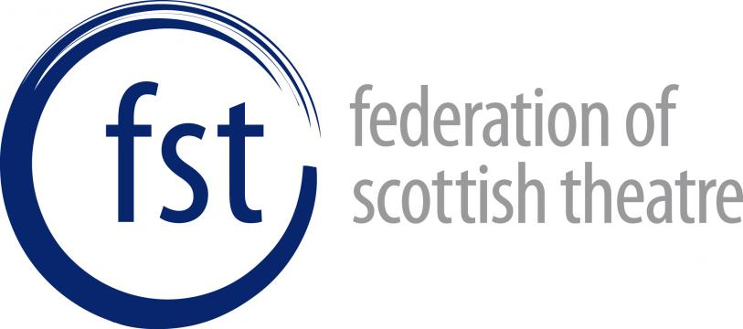 Federation of Scottish Theatre logo: blue lowercase letters of fst inside a blue swoosh type circle, next to the full title of the company in grey letters