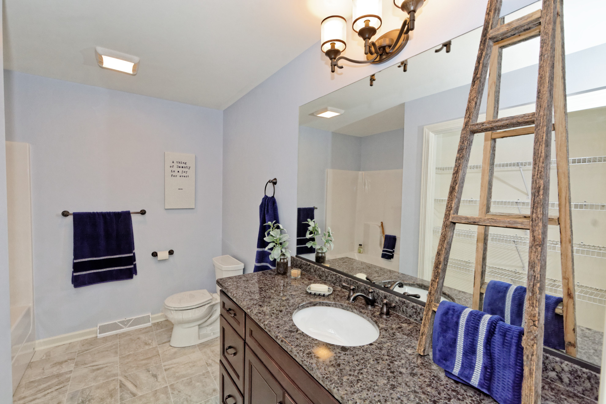 hanging towels in the bathroom