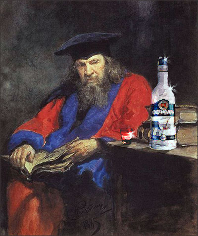 Dmitri Mendeleev ponders the perfect Vodka. (thanks to my elite Photoshop skills and a painting by Ilya Repin)