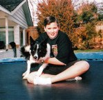 Bonnie Belle and me on the trampoline, Easter 1993. What a difference a year makes.