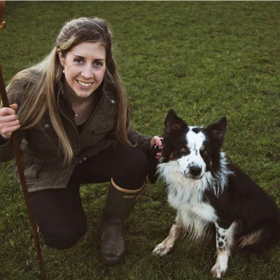 "Beverley with her stud Border Collie ""Chip"", fully DNA tested & hip scored."
