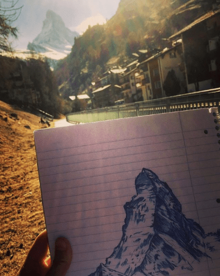 End of Abroad Switzerland Matterhorn Drawing