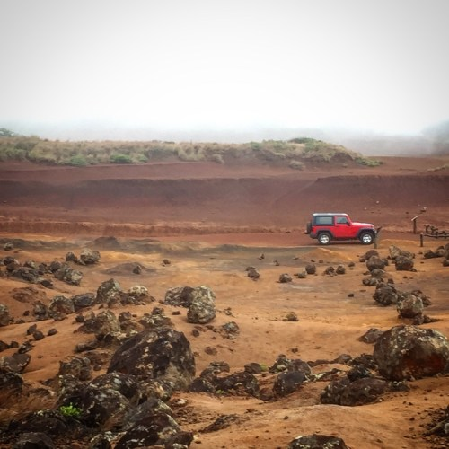 Garden of the Gods, Lanai with Jeep
