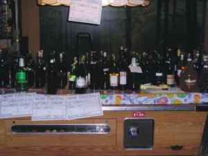 organizing wines on pool table
