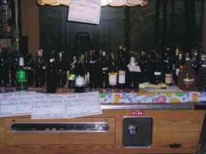 organizing wines on pool table