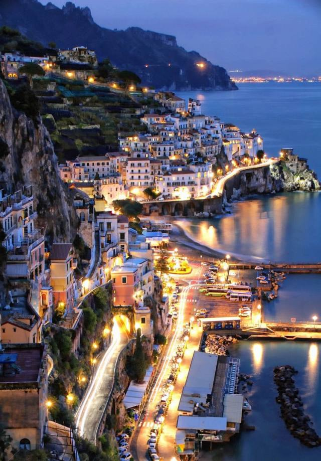 Amalfi at Night,Italy by Andy Lopusnak