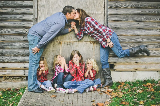 Kissy-Face Ew! Mom and dad are kissing! This is a cute pose with kids giggling at their parents being affectionate. SHINE ON PHOTOGRAPHY