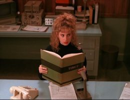 Kimmy Robertson (Lucy Moran) reading a Tibet Book on Twin Peaks