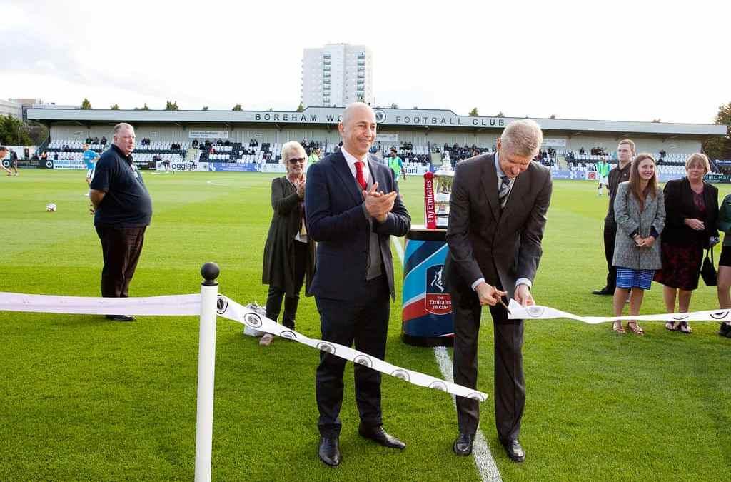 ARSENE WENGER OBE AND IVAN GAZIDIS UNVEIL BOREHAM WOOD'S STADIUM UPGRADES