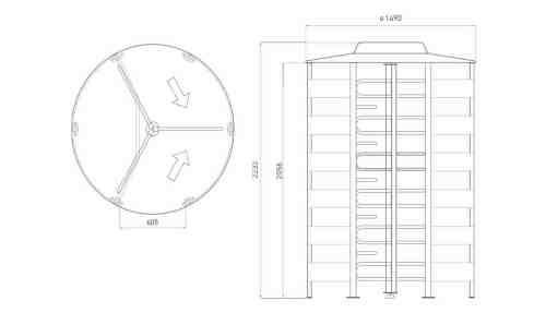 PoE Power Rotor Full Height Turnstile Dimensions Borer Access Control
