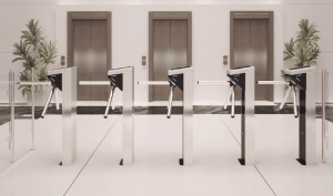 office building fingerprint access turnstiles
