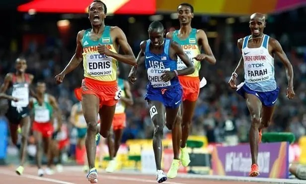 Muktar Edris of Ethiopia - Men`s 5000 meters World Championship in London