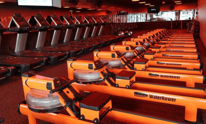 an orange theory workout room