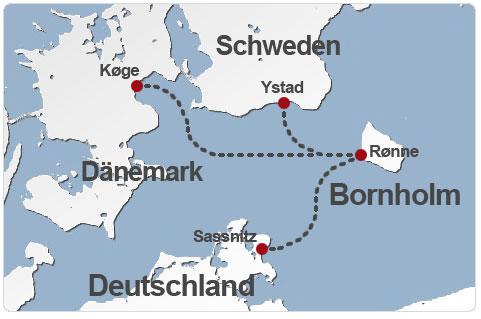 Karte der Faehren nach Bornholm