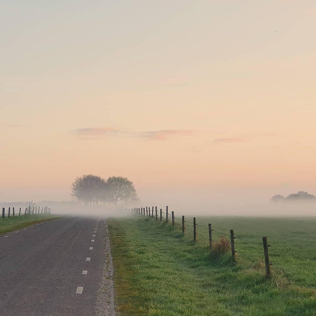 Cycling home from the nightshift. 📸 @erikschepers  #born #borninbeeld #Limburg #limburginbeeld #inlimburg #VisitLimburg #mist #foggyday #fog #cycling