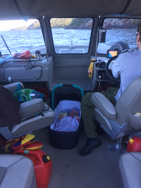 baby sleeping in boat