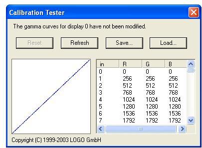 Screen shot Calibration (LUT) Tester
