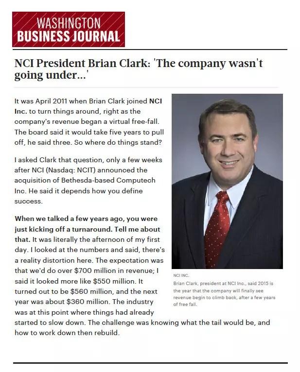 NCI - Washington Business Journal Brian Clark Article