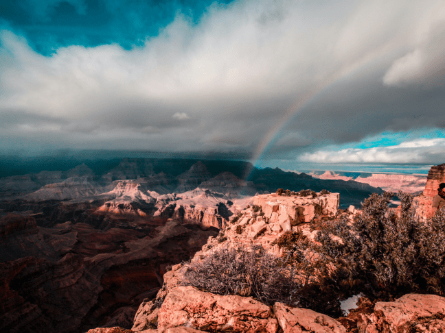 Grand Canyon landscape with rainbow