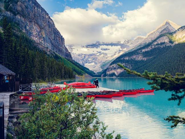 Banff, Alberta, Canada: Canoes on Lake Louise