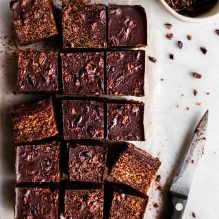 raw brownie with protein powder