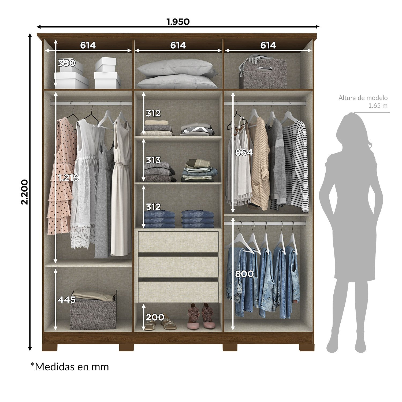 Ropero Cover Closet Guardaropa Elegante para Parejas Castaño