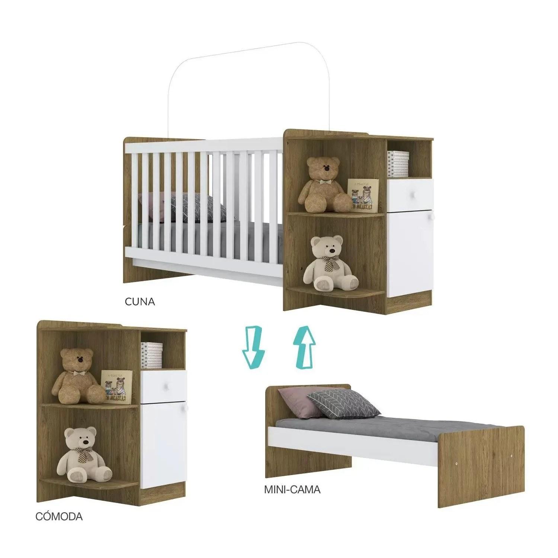 Cuna Minicama para Bebé o Niño Mosaico con Cómoda Rústico/Blanco