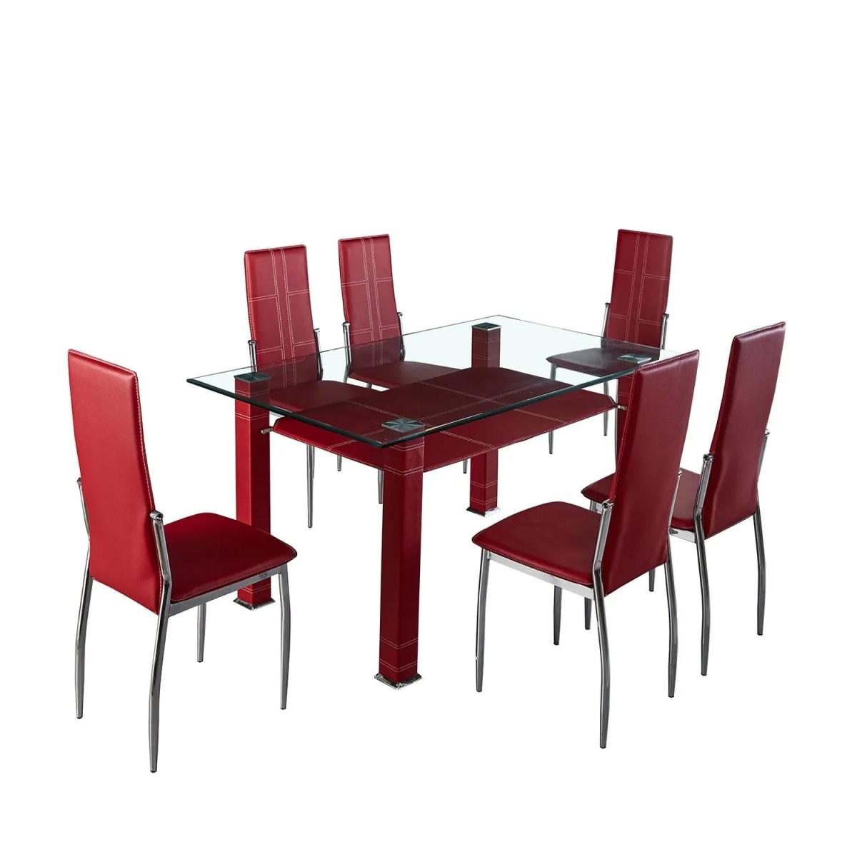 comedor líbano elegante de acero con 6 sillas altas 1