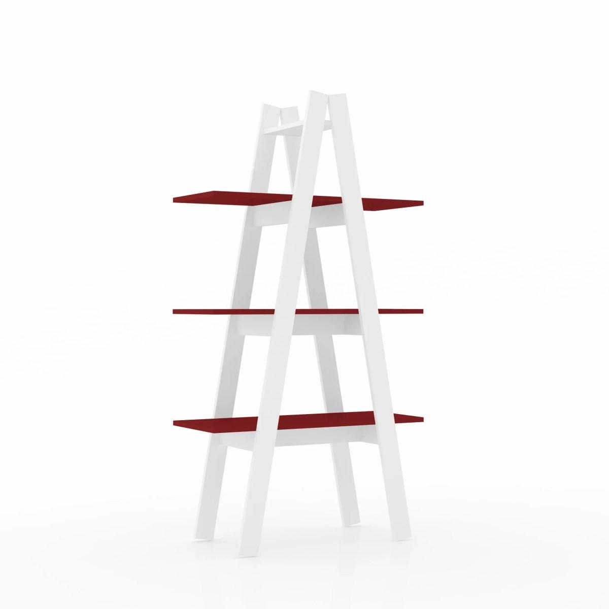 librero escalera antuan 3 niveles rojo 1