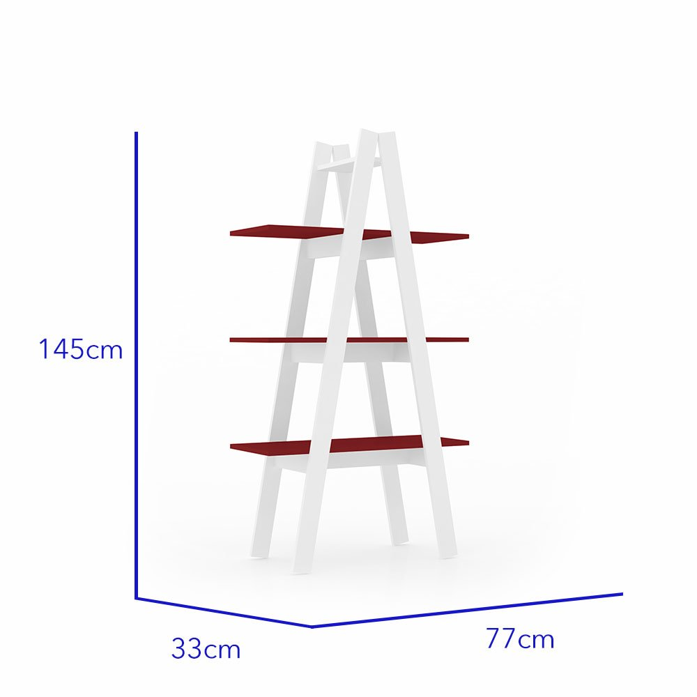 librero escalera antuan 3 niveles rojo 2