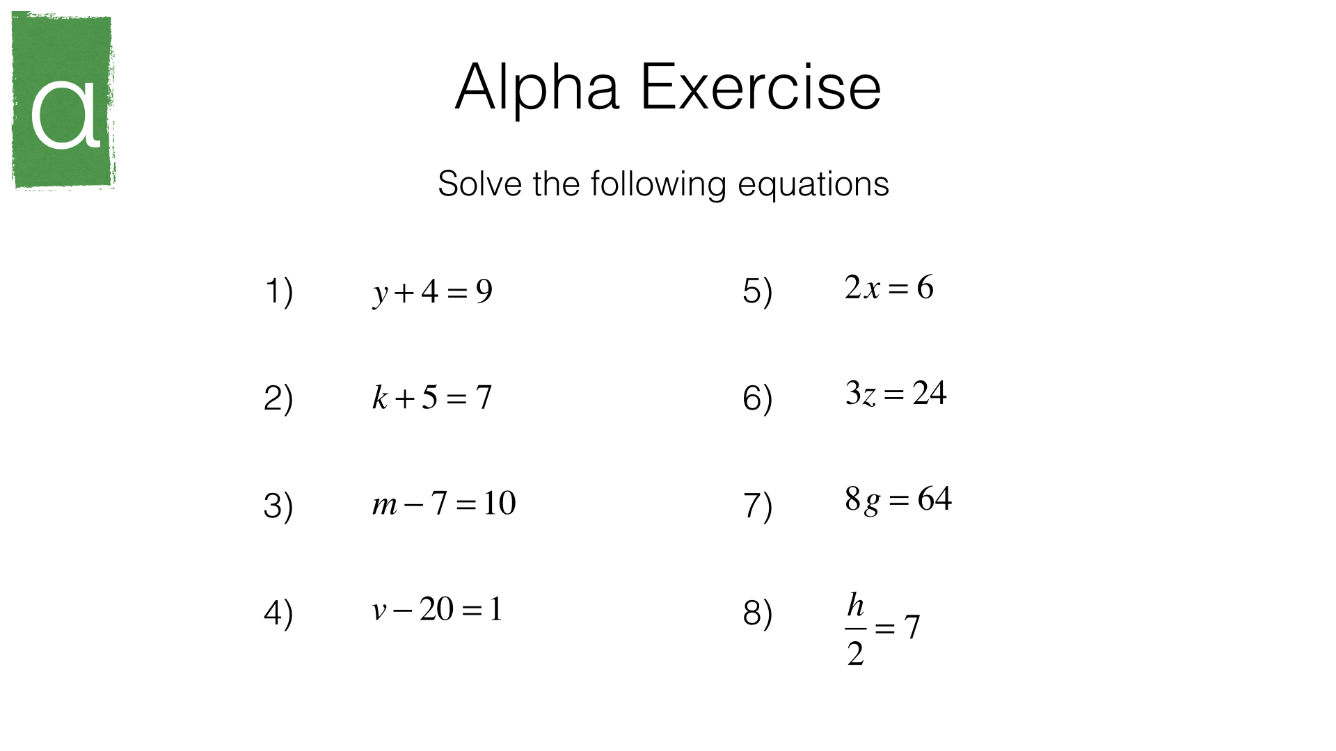 Simple Algebra Equations Worksheet