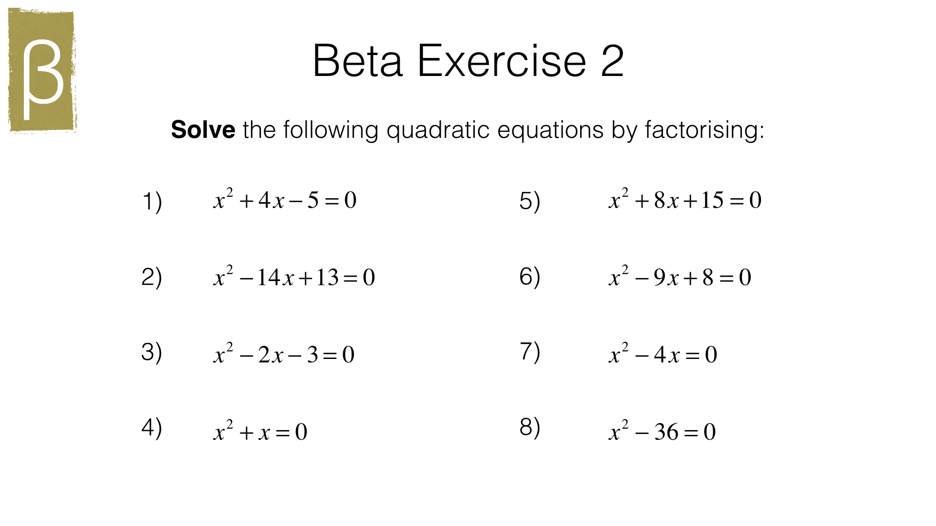 A18a Solving Quadratic Equations By Factorising
