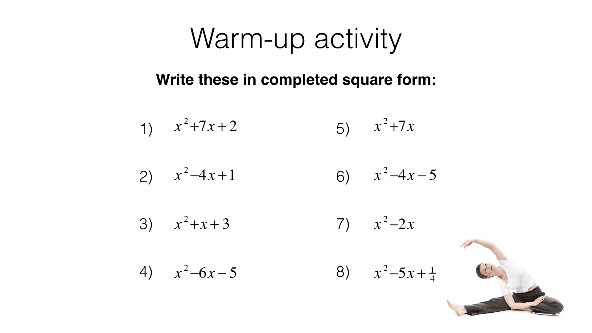 A18b Solving Quadratic Equations By Completing The