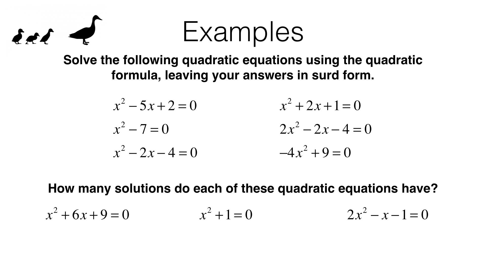 A18c Solving Quadratic Equations Using The Quadratic