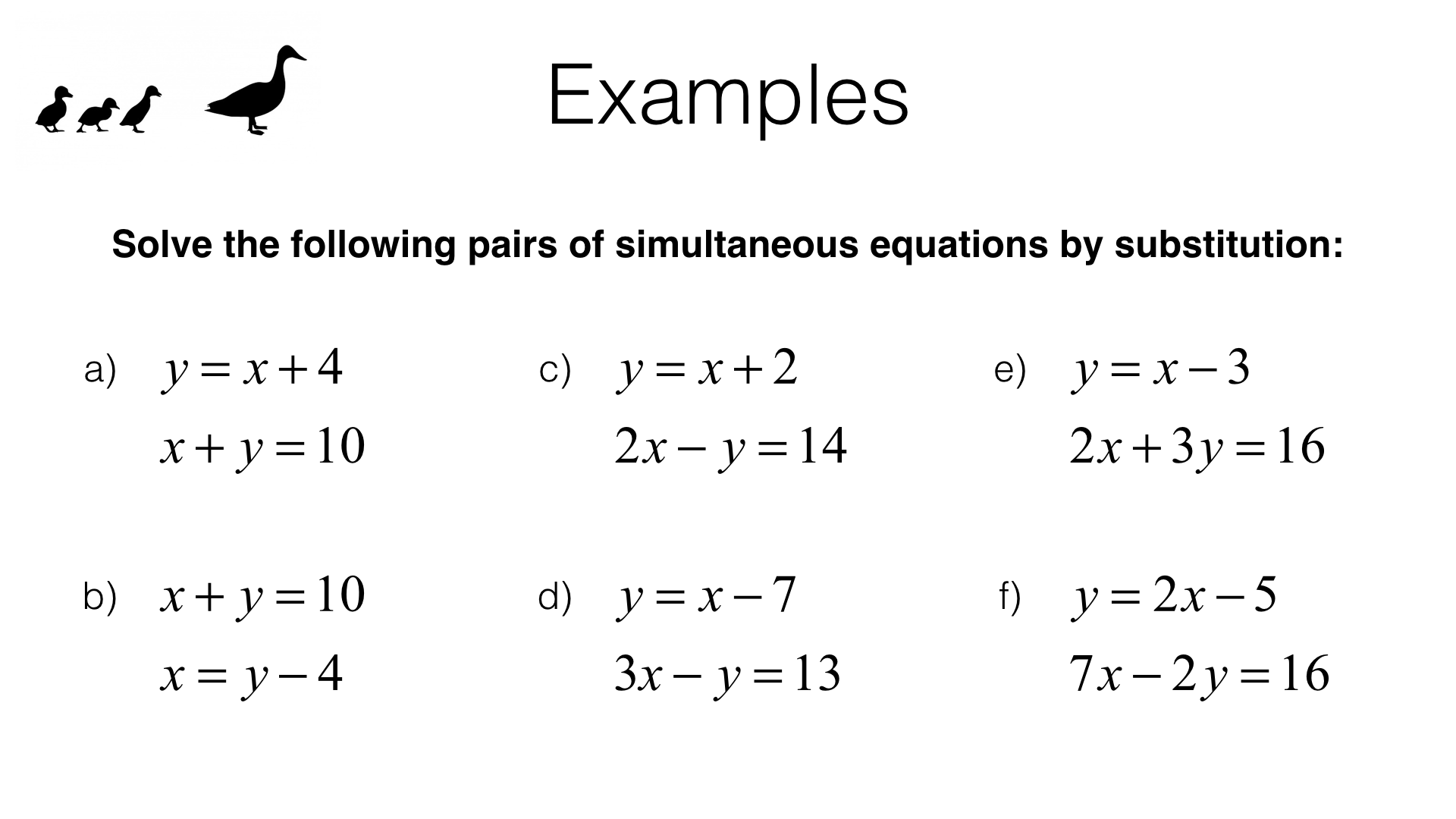 A19b Solving Two Linear Simultaneous Equations
